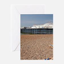 Beach chairs and Brighton Pier (c. 1 Greeting Card