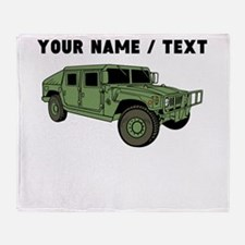 Custom Green Military Humvee Throw Blanket