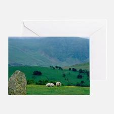Sheep grazing in distanceingdom, Lak Greeting Card