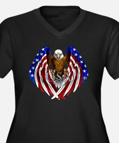 eagle2 Women's Plus Size Dark V-Neck T-Shirt
