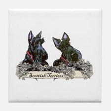 Lilac Scottish Terriers Tile Coaster