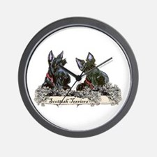 Lilac Scottish Terriers Wall Clock