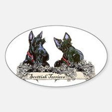 Lilac Scottish Terriers Oval Decal