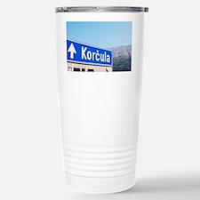 Road sign saying Korcula, view  Travel Mug
