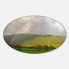UK. Rainbow and Sheep in a field in Sticker (Oval)