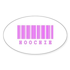Hoochie Barcode Design Oval Decal