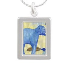 sq elephant squirting wa Silver Portrait Necklace