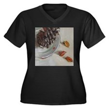 Pine cone with autumn leaves Plus Size T-Shirt