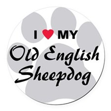 old-english-sheepdog Round Car Magnet