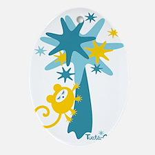 monkey-dream-yellow-blue Oval Ornament
