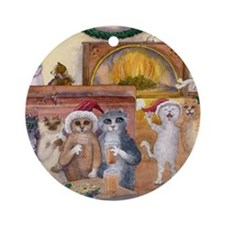 cats 1 Happy Catsmouse Round Ornament