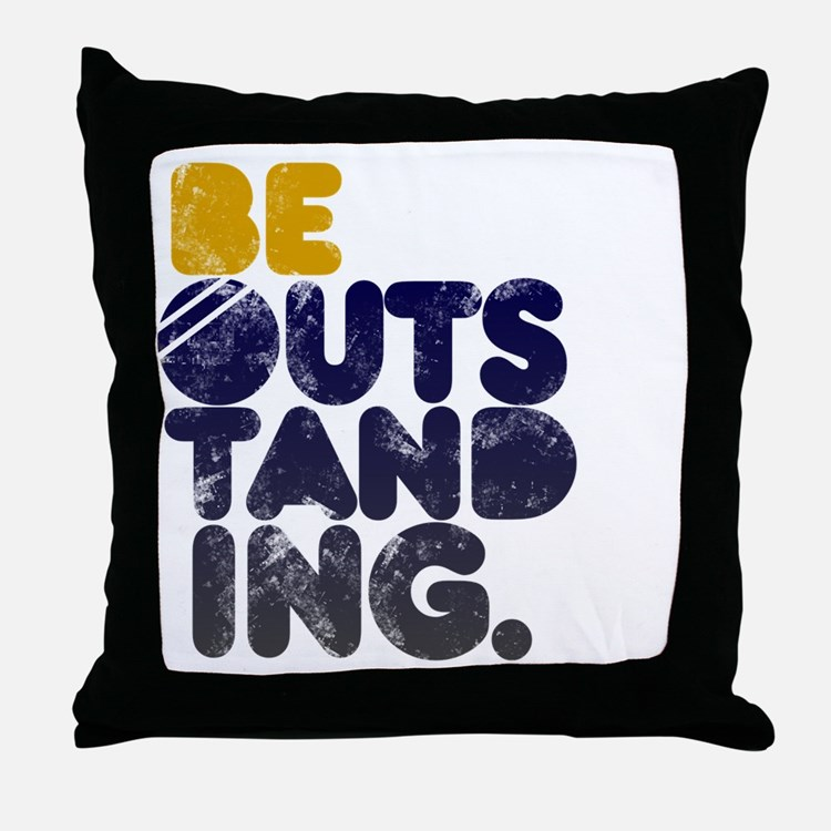 Navy  Gold Be Outstanding Throw Pillow