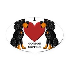Gordon Setter Cartoon Oval Car Magnet