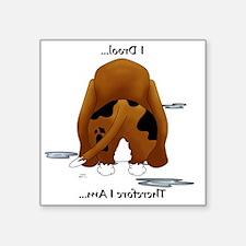 "BassetDroolMirrorLight Square Sticker 3"" x 3"""