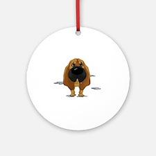 BloodhoundDroolDark Round Ornament