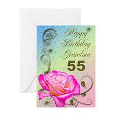 55th birthday card for grandma, Elegant rose Greet