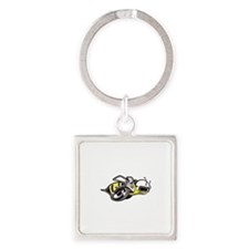 Super Bee White PNG Square Keychain