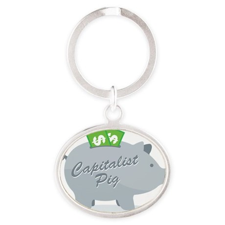 capitalist_pig_gray Oval Keychain