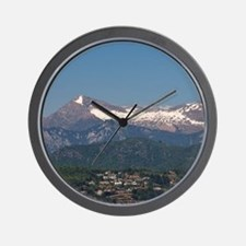 Lugano. Town view with mountains and La Wall Clock