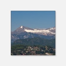 """Lugano. Town view with moun Square Sticker 3"""" x 3"""""""