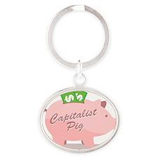 capitalist_pig_pk Oval Keychain