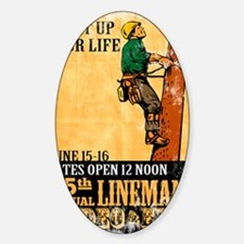 power lineman electrician repairman Sticker (Oval)