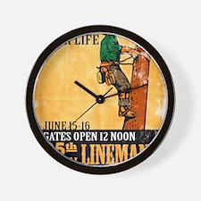 power lineman electrician repairman Wall Clock