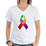 Rainbow Pride II Ribbon Women's V-Neck T-Shirt