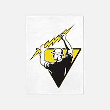 power lineman electrician repairman 5'x7'Area Rug