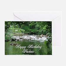 Happy birthday Partner, tranquil river scene Greet