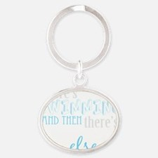 swimming then eleverything else_dark Oval Keychain