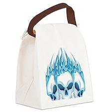 Flaming Blue Skulls Canvas Lunch Bag