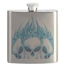Flaming Blue Skulls Flask