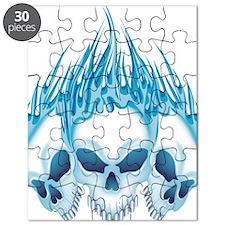 Flaming Blue Skulls Puzzle