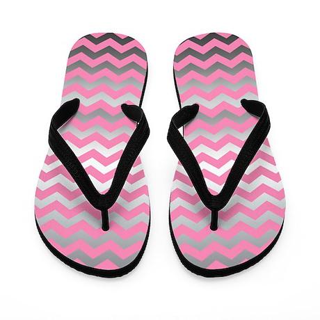 Pink metallic silver chevron print Flip Flops