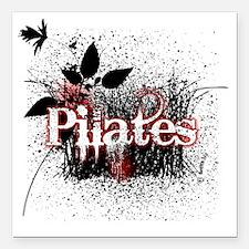 "pilates organic 1 black  Square Car Magnet 3"" x 3"""