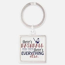 baseball then eleverything else Square Keychain