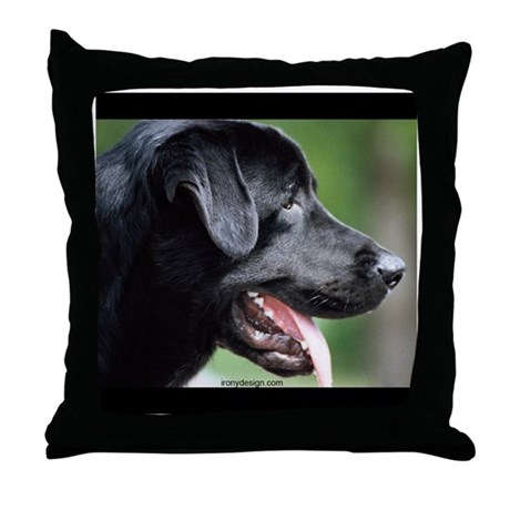 Black Labrador Throw Pillow by ironydesigns