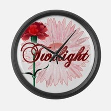 twilight with pink flower and red Large Wall Clock