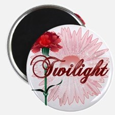 twilight with pink flower and red carnation Magnet