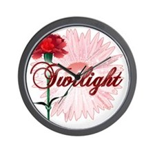 twilight with pink flower and red carna Wall Clock