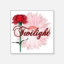 "twilight with pink flower a Square Sticker 3"" x 3"""
