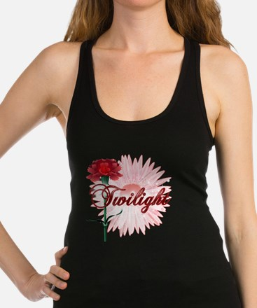 twilight with pink flower and r Racerback Tank Top