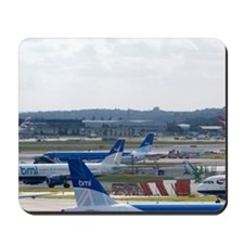 Airliners on the runway at London Heathr Mousepad