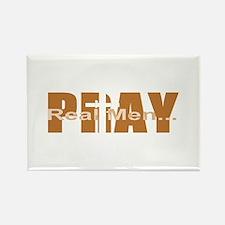 Real Men Pray - Terra Cotta Rectangle Magnet