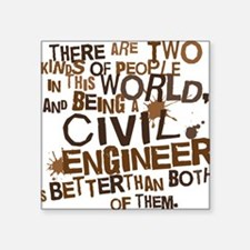 """civil_engineer_two_brown Square Sticker 3"""" x 3"""""""