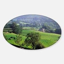The gentle, green hills of Grasmere Sticker (Oval)