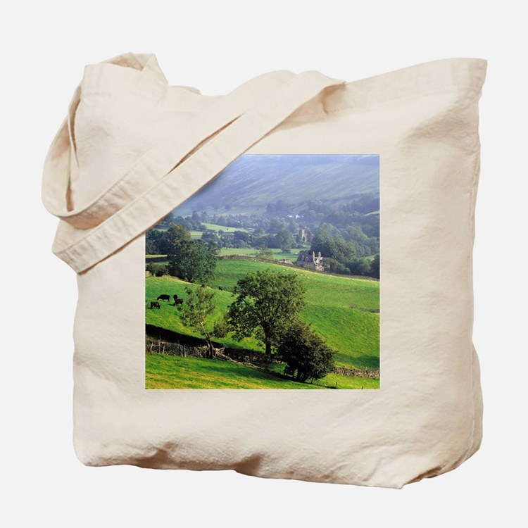 The gentle, green hills of Grasmere are o Tote Bag