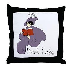 Book Lady Throw Pillow