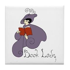 Book Lady Tile Coaster